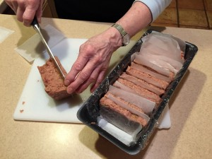 Slicing Lorne sausage ready for second freezing.
