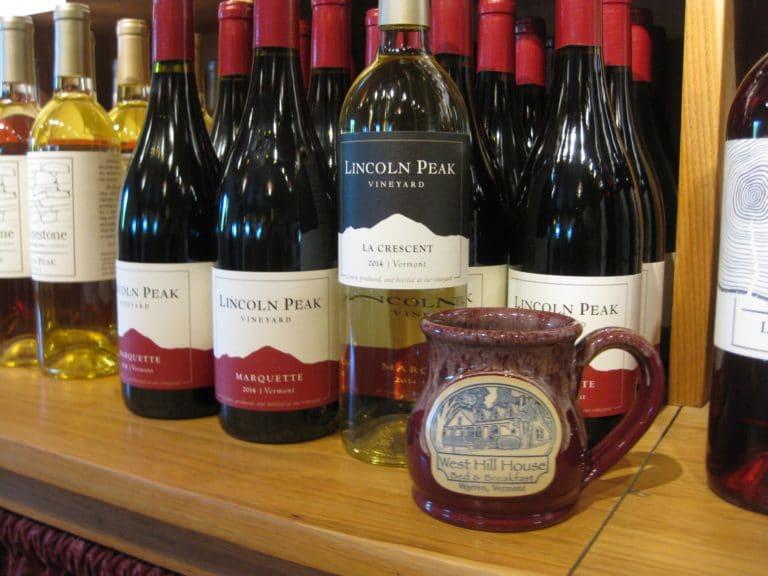 Lincoln Peak Vineyard bottles on display in the tasting room.