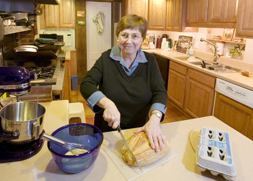 Susan MacLaren prepares the authentic New England breakfast included with your stay at West Hill House B&B in Warren, Vermont
