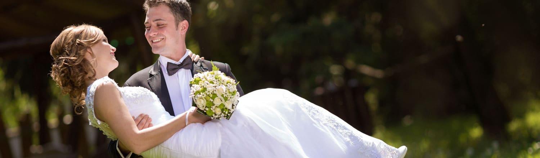 Wedding couple and pastor