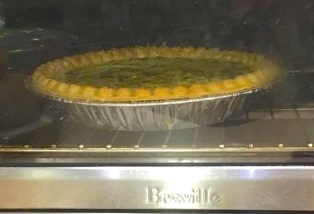 quiche in the oven