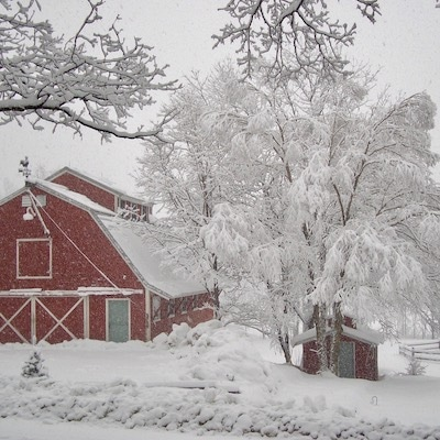Handsome Red Barn in snow