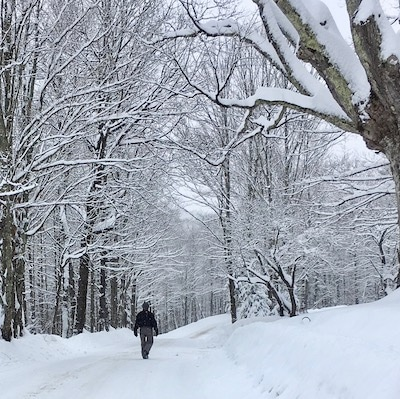 A walk down West Hill Road in the snow